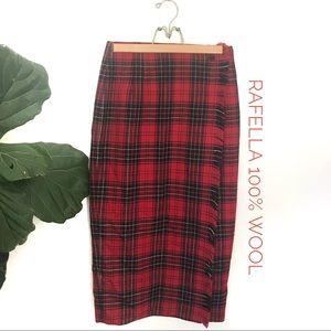 Vintage Rafaella 100 Worsted Wool Plaid Wrap Skirt